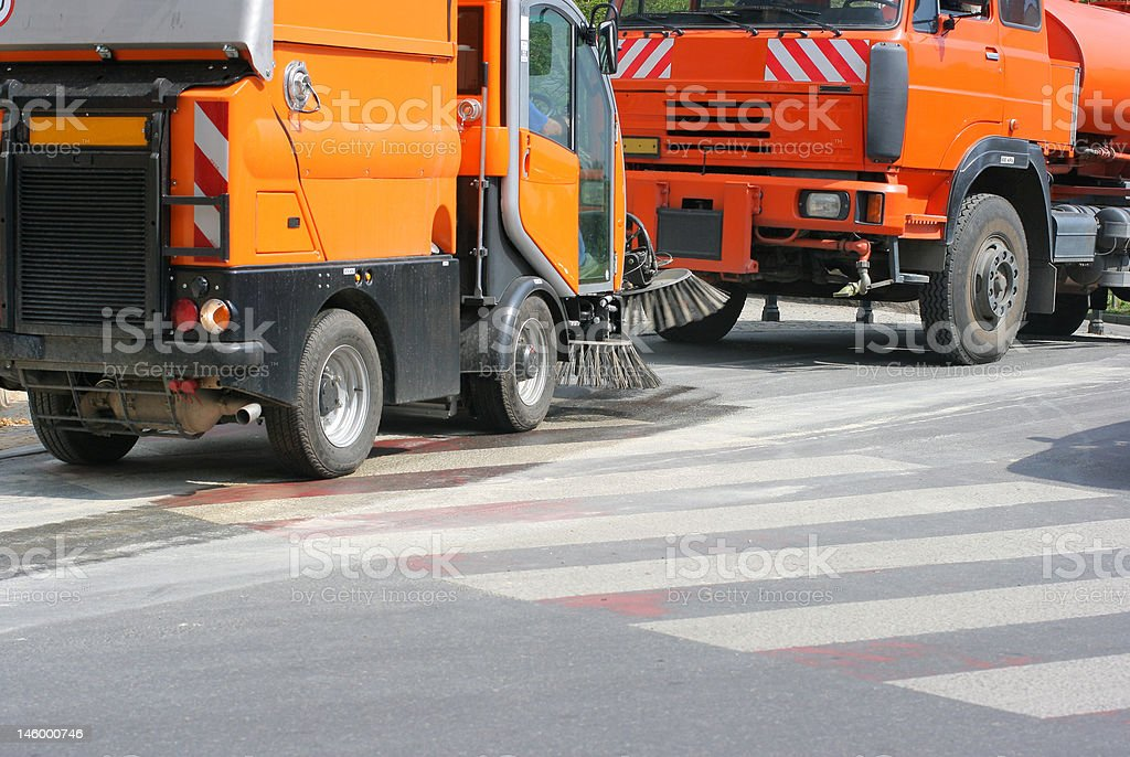 Street cleaning vehicle 2 stock photo