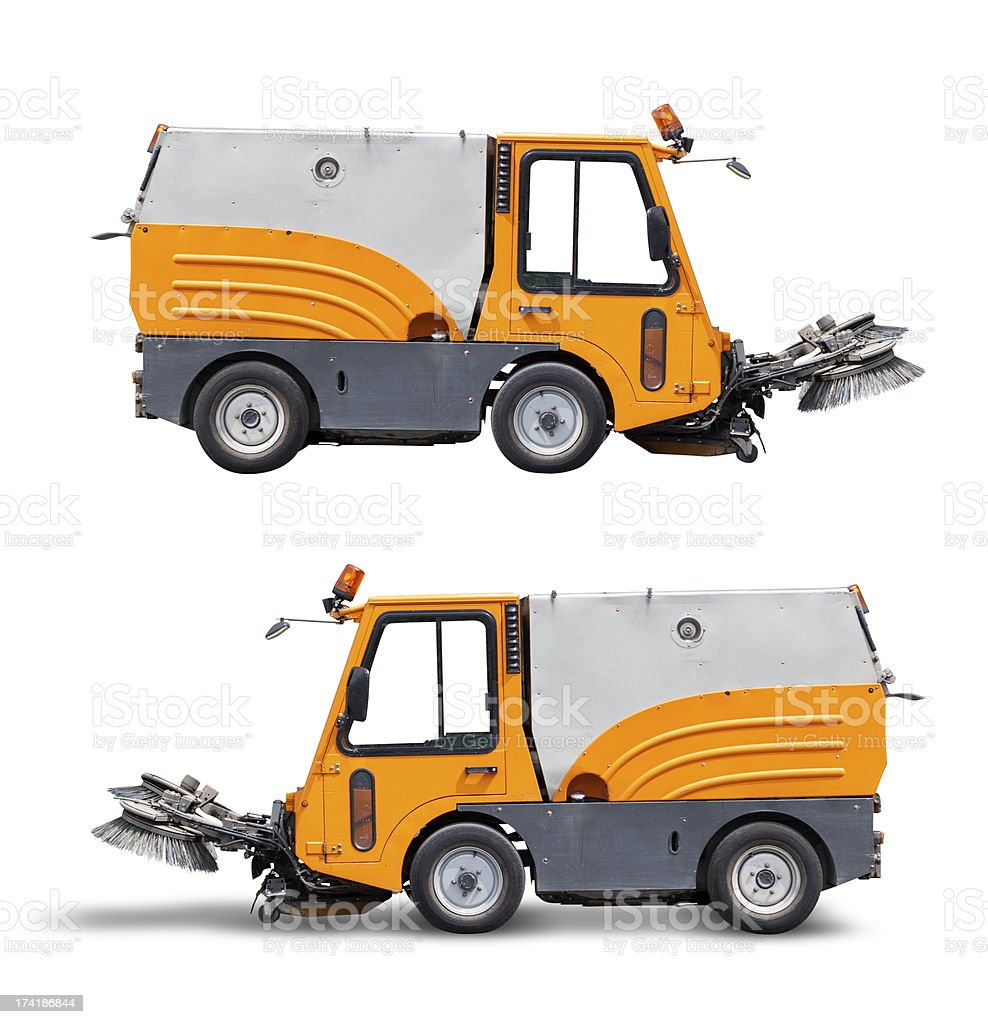 Street cleaning vehicle, isolated on white with clipping path stock photo