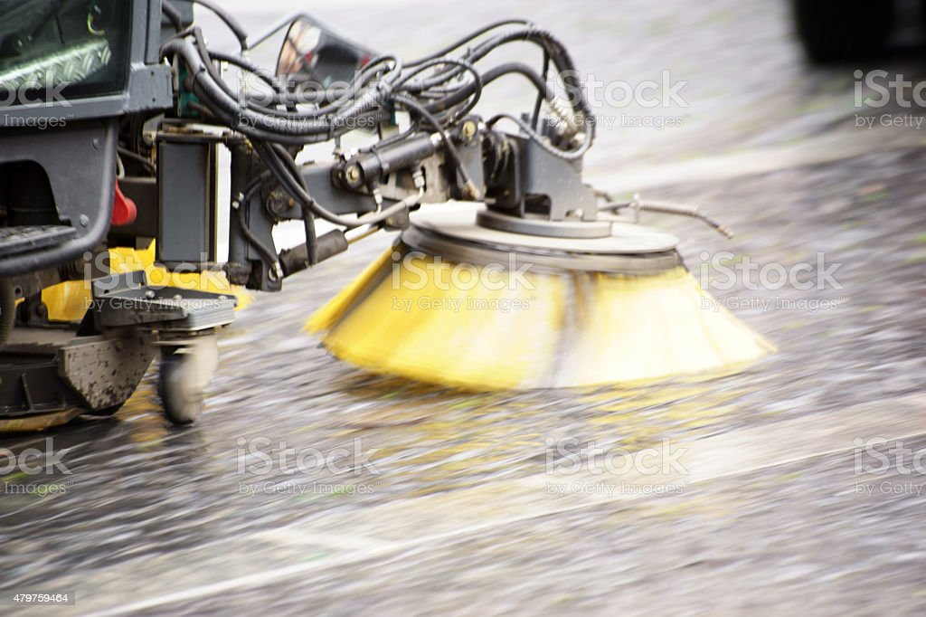 Street cleaning vehicle stock photo