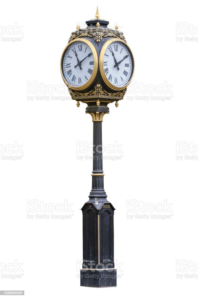 Street clock, clock on a pole stock photo
