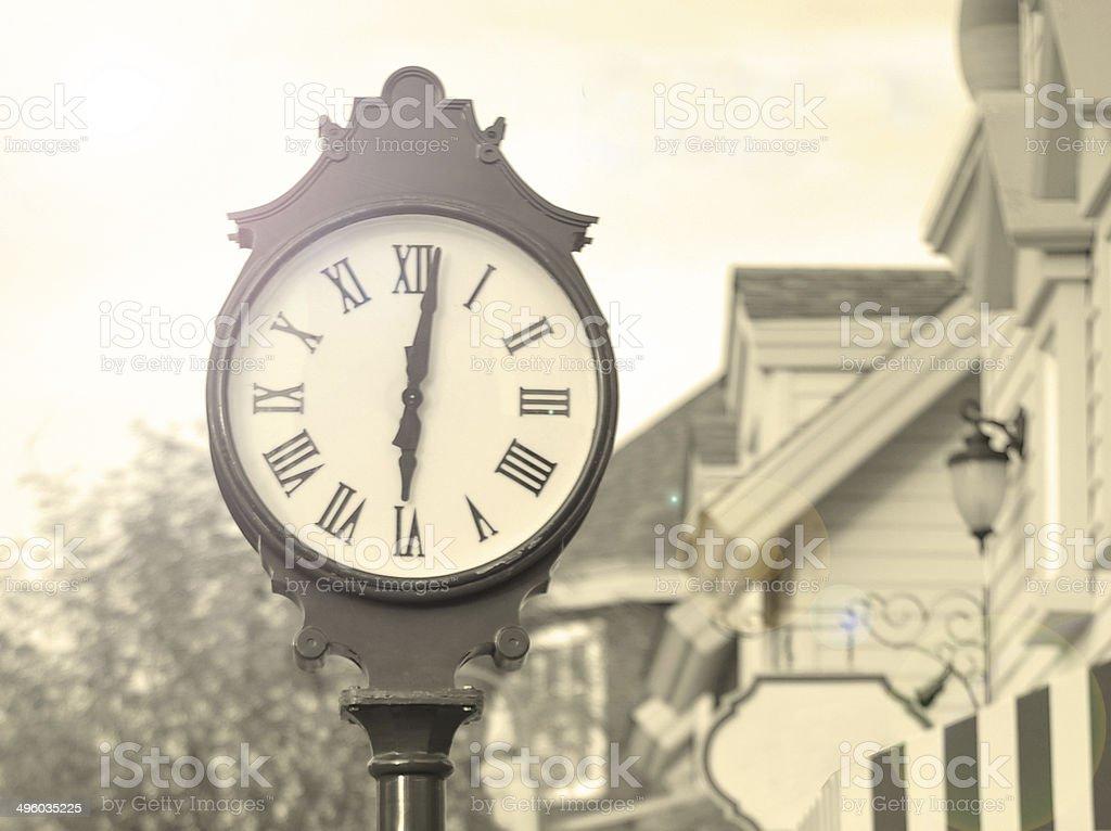 Street clock in vintage style stock photo