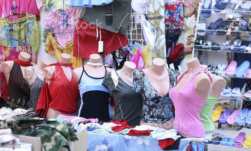 Street clothes market royalty-free stock photo