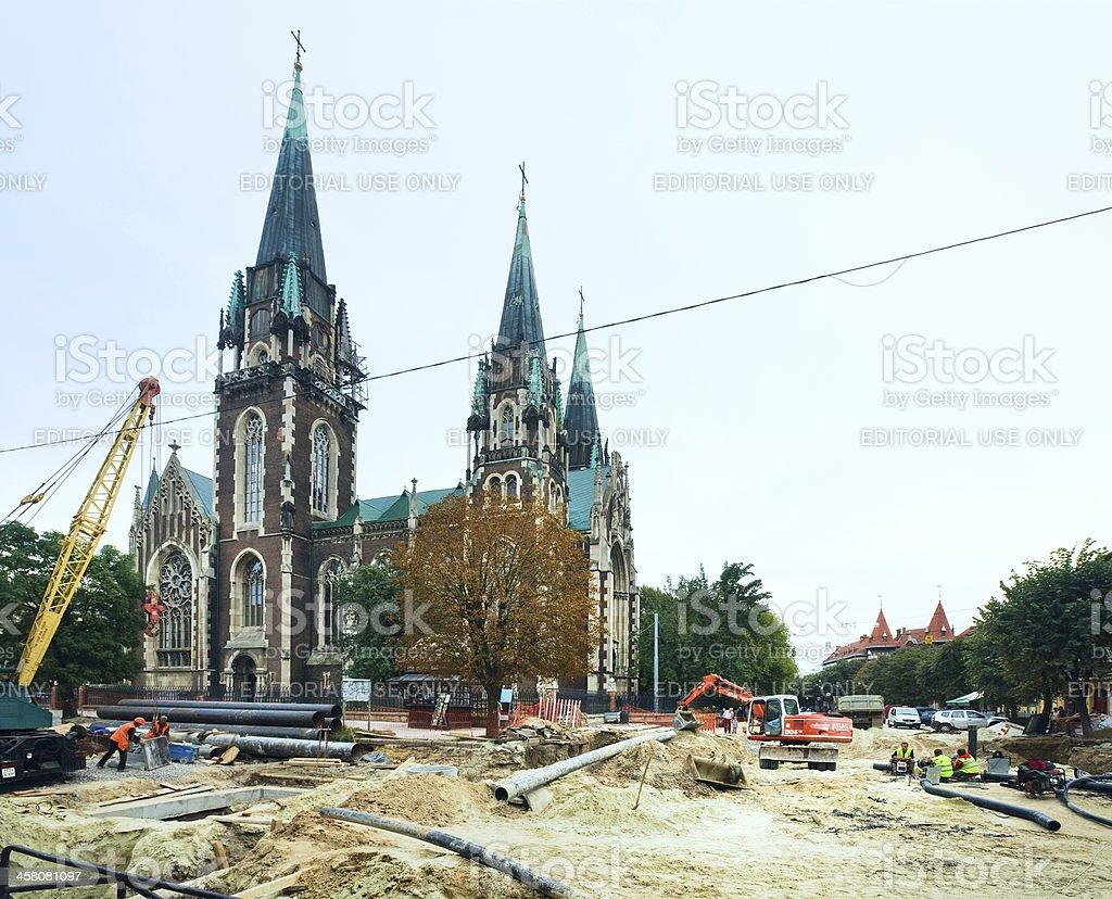 Street construction before Euro 2012 in Lviv, Ukraine royalty-free stock photo
