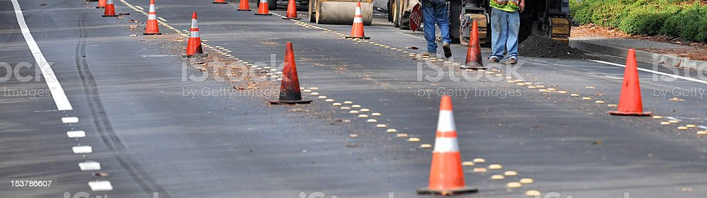 street construction with cones royalty-free stock photo