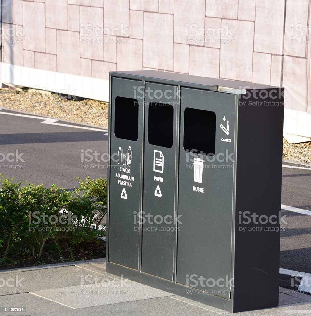 street containers for recycling garbage stock photo