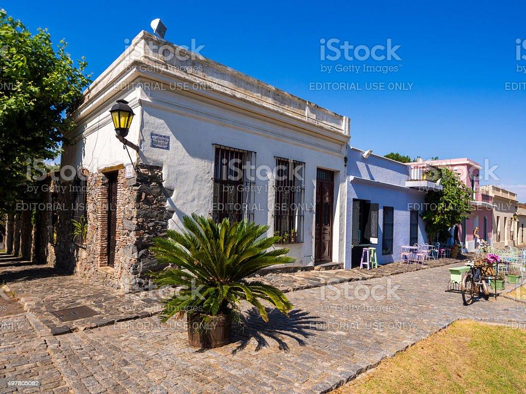 Street corner in Colonia del Sacramento, Uruguay stock photo