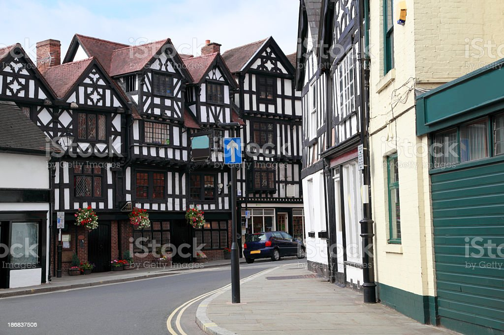 street corner medieval half-timbered buildings stock photo