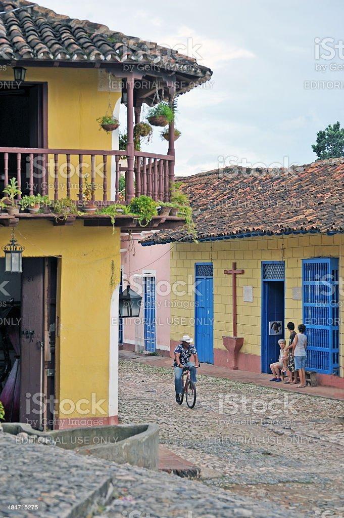 Street corner, Plaza Mayor, Trinidad, Cuba stock photo