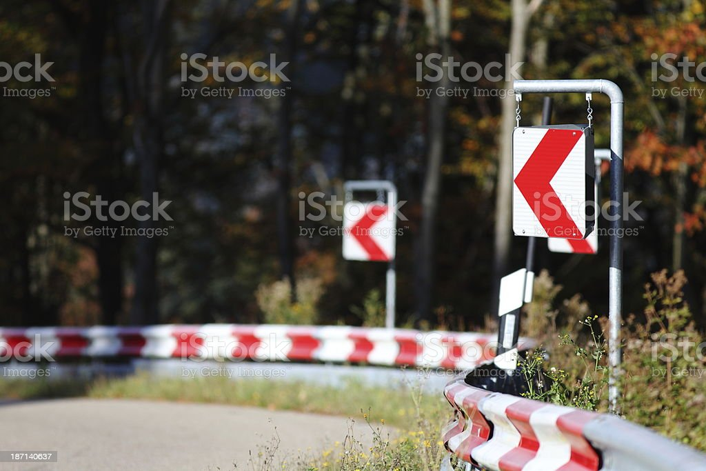 street corner with attention sign stock photo