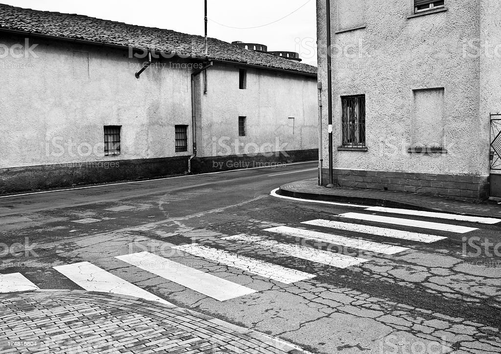 Street Corner With Zebra Crossing, Black And White royalty-free stock photo