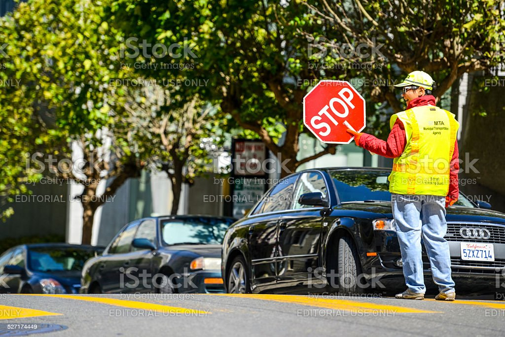 Street crossing guard in San Francisco stock photo