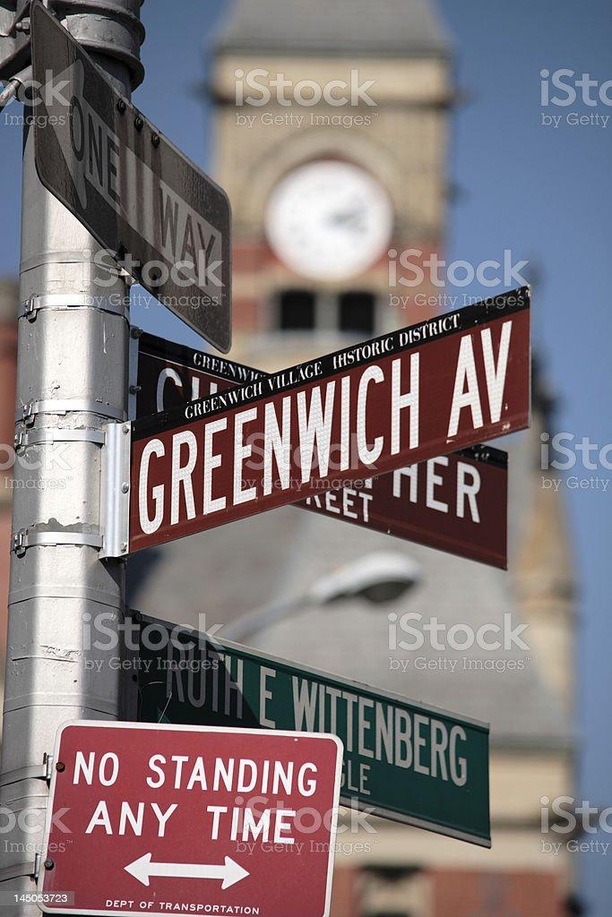 Street crossing sign, Greenwich Village, New York, Manhattan, USA, stock photo