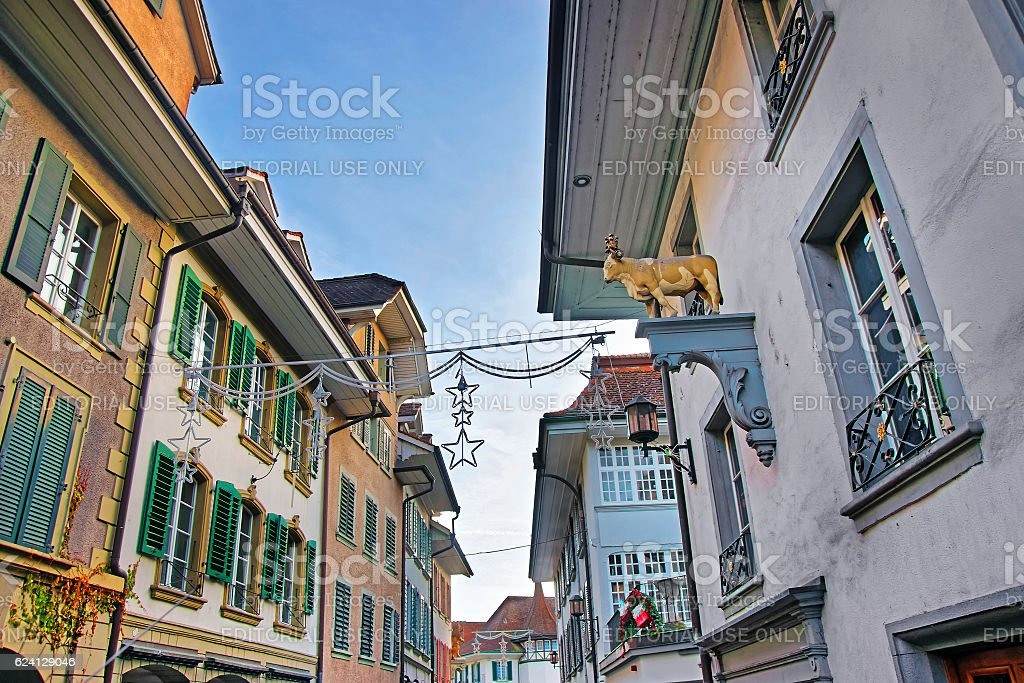 Street decorated with Christmas Stars in Thun Old City stock photo