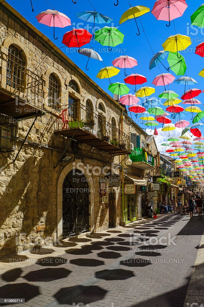 Street, decorated with colorful umbrellas, Jerusalem stock photo
