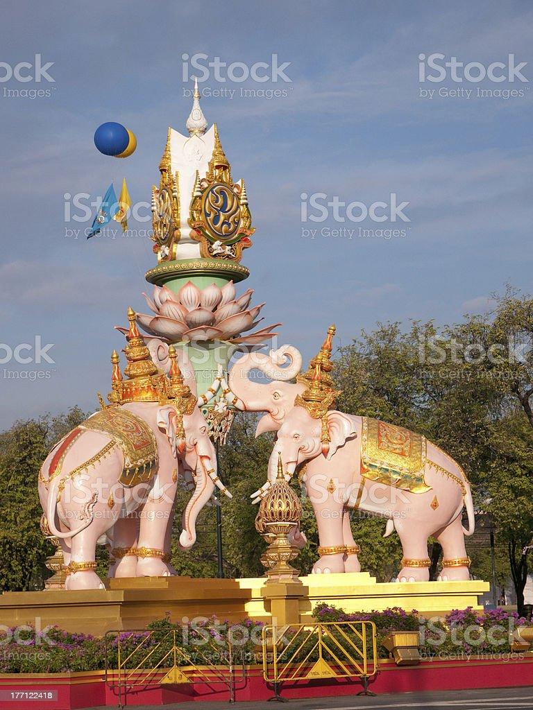 Street decoration in Bangkok to celebrate H.M. King Bhumipol Adulyadej royalty-free stock photo