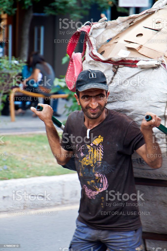 Street delivery by handtruck in Fethiye, Turkey stock photo
