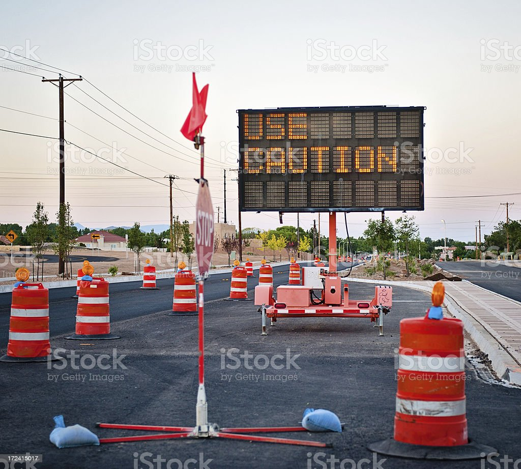 Street Detour in Construction Zone royalty-free stock photo