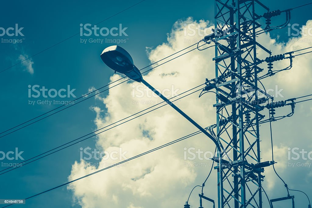 street electricity lamp pole vintage color tone. stock photo