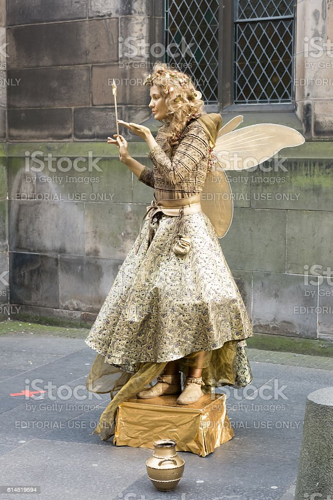 Street Entertainer at Royal Miles in Edinburgh, United Kingdom stock photo