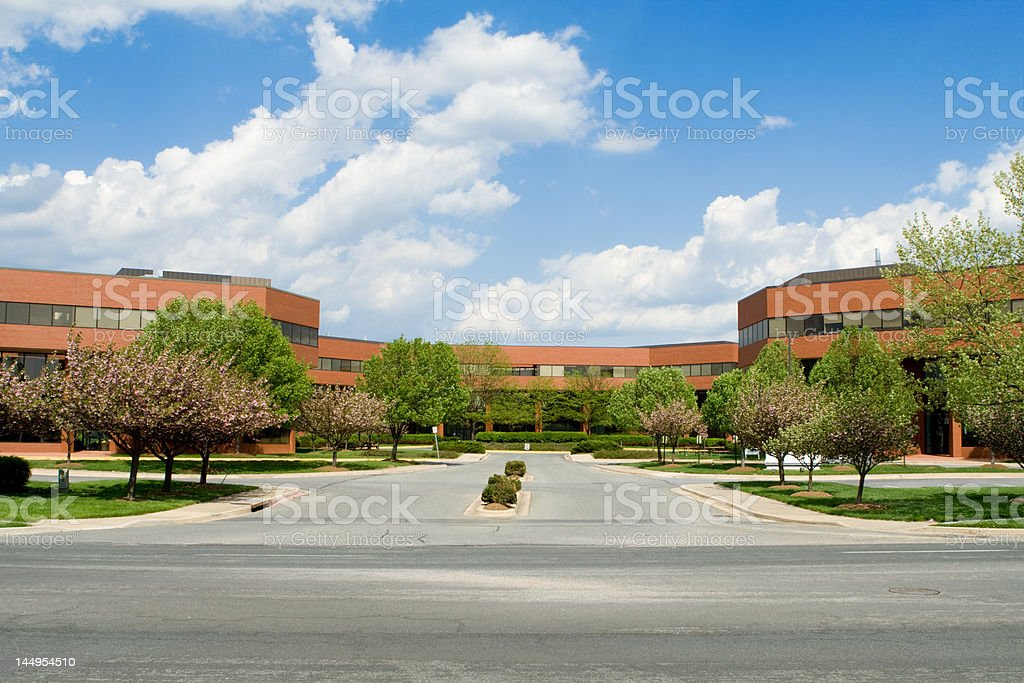 Street Entrance to Modern Brick Office Building stock photo