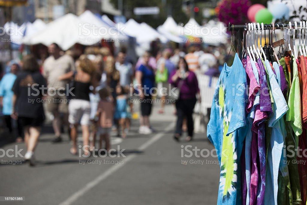 Street Fair or Festival, Summer Fun at an outdoor carnival stock photo