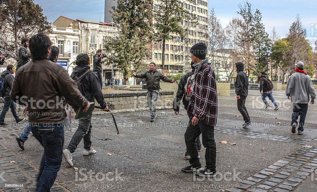 Street fight stock photo