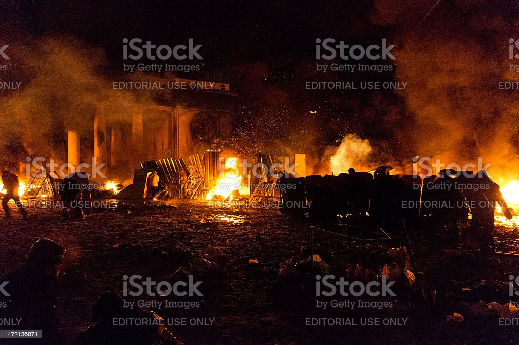 Street fights in Kyiv, Ukraine stock photo