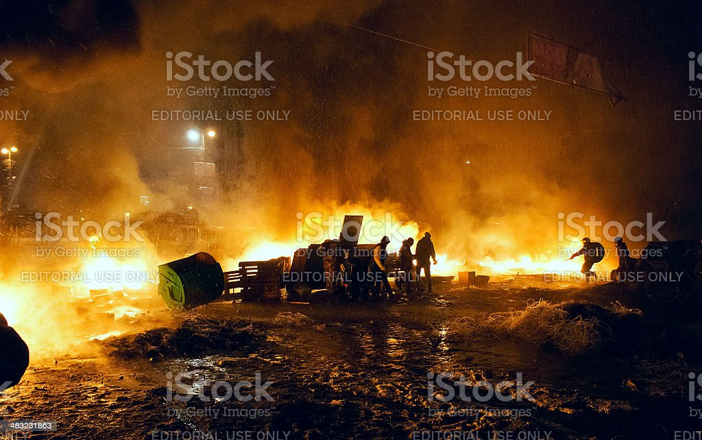 Street fights in Kyiv, Ukraine stock photo