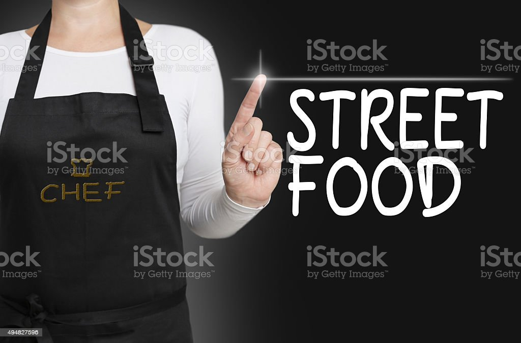 Street food background cook operated touchscreen concept stock photo