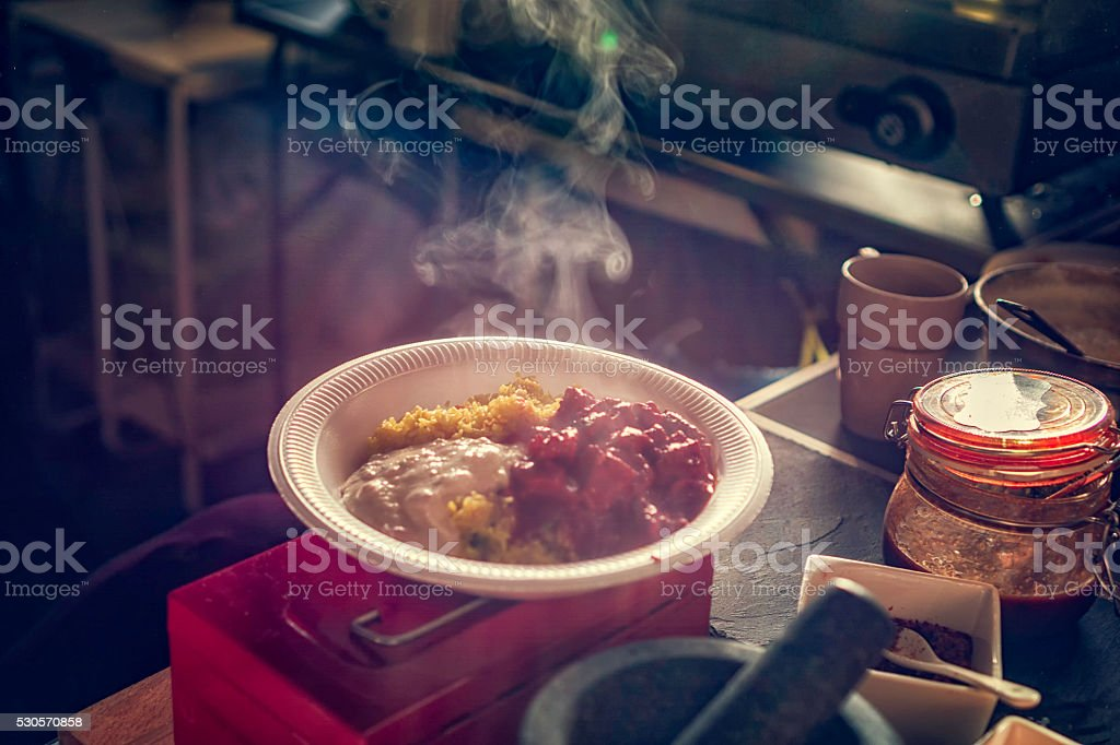 Street Food Chicken Curry Dish with Basmati Rice stock photo