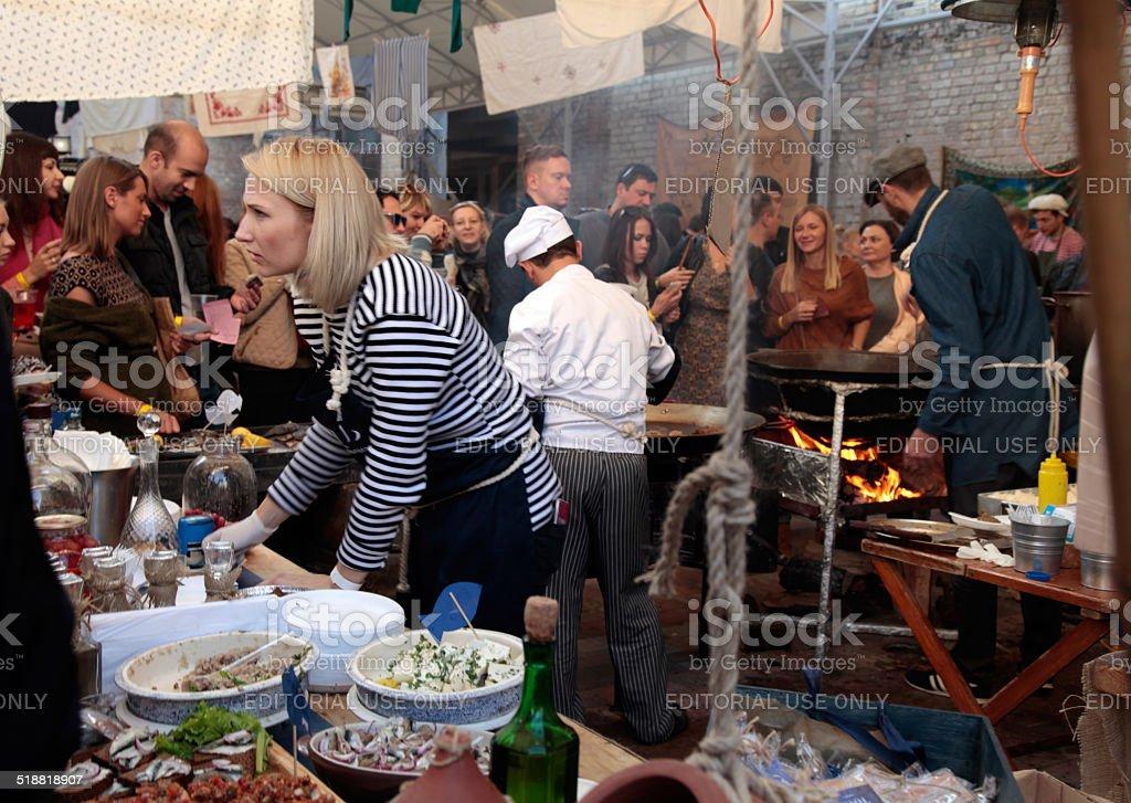Street Food Festival in Kiev, Ukraine. stock photo