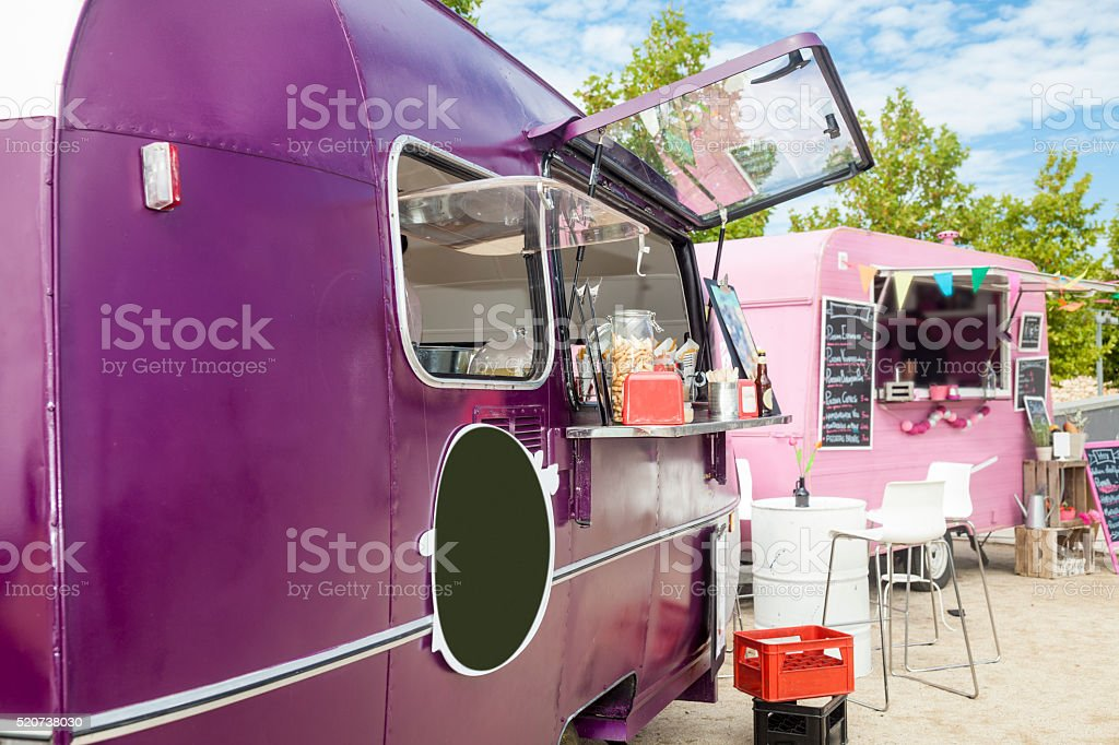 Street food, food trucks outdoors stock photo