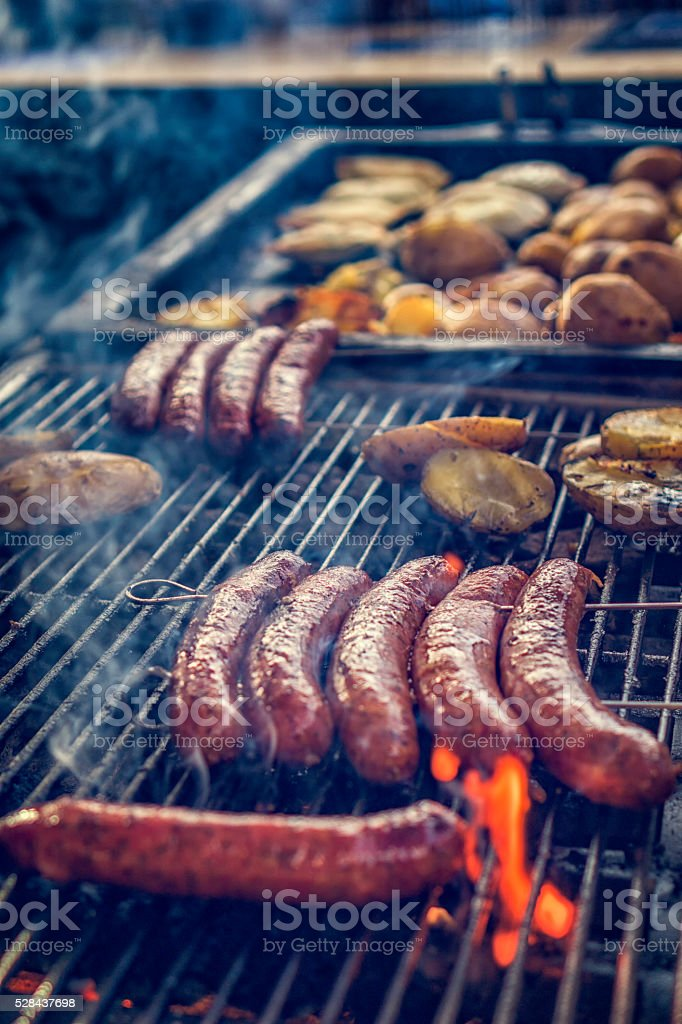 Street Food Grilled Chorizo and Potatoes stock photo