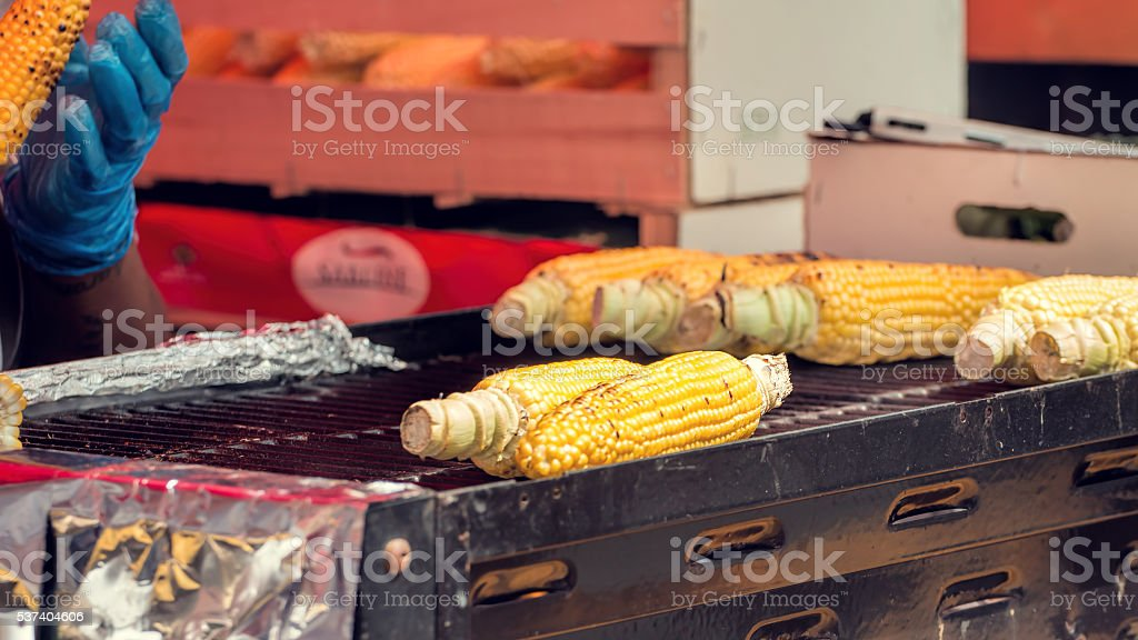 Street Food. Grilled Corn On The Cob, Mexican Elote. stock photo
