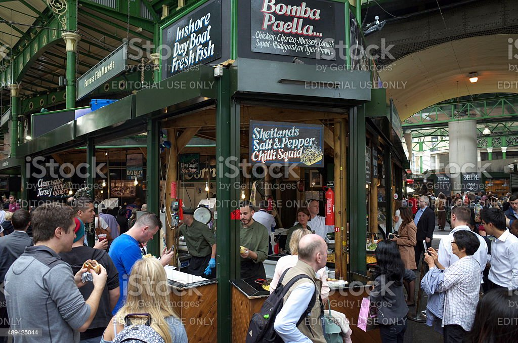 Street Food in Borough Market London stock photo