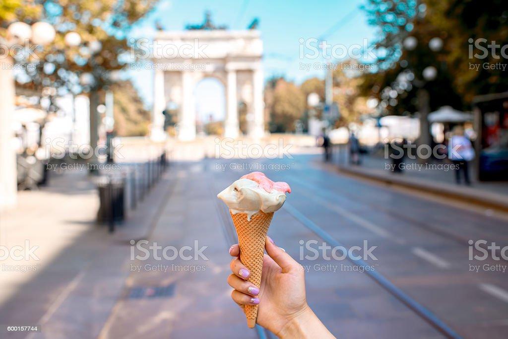 Street food in Milan city stock photo