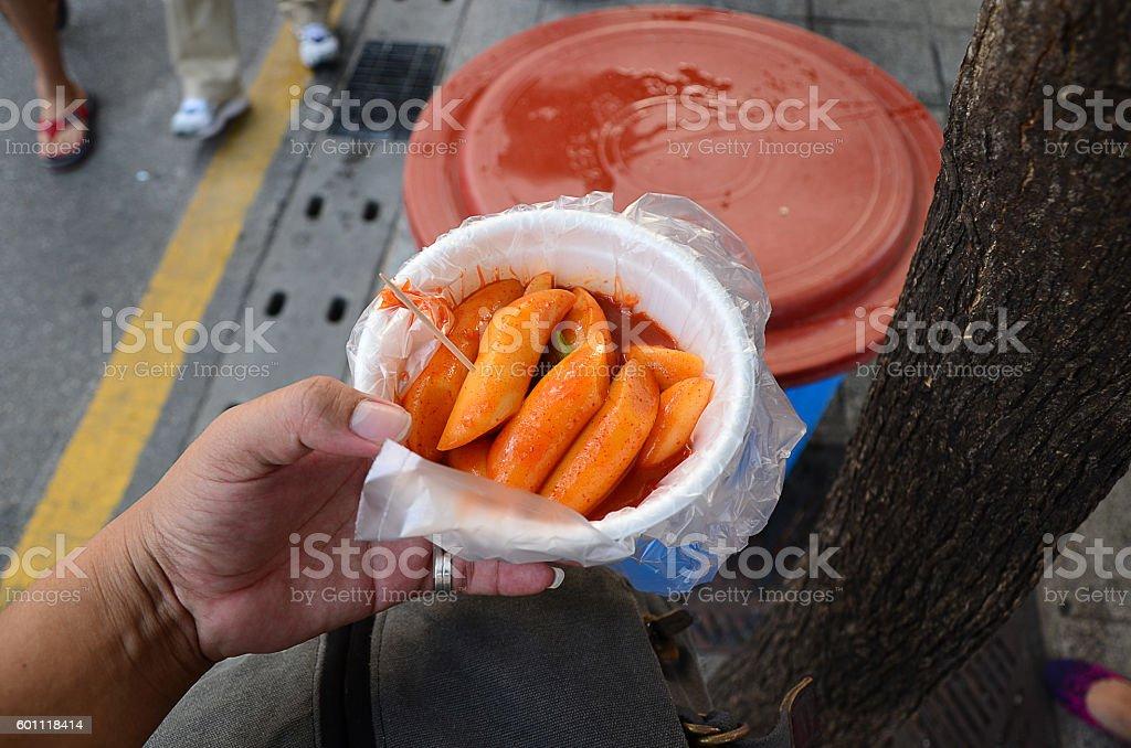 Street food in South Korea: Tokpokki stock photo