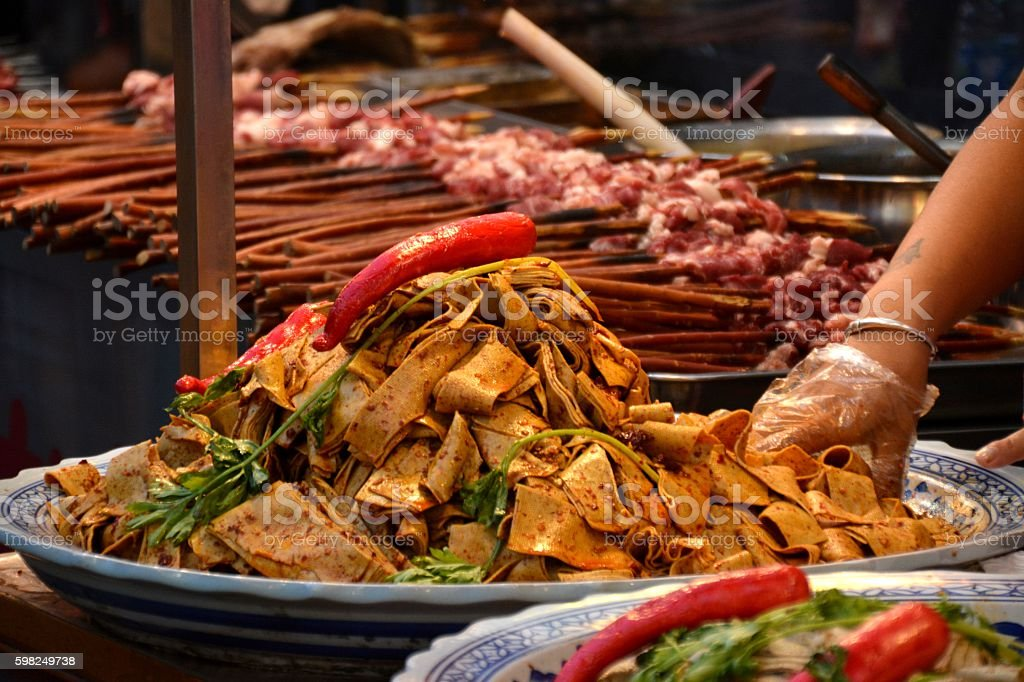 Street food in the muslim quarter of Xi'an, Shaanxi stock photo