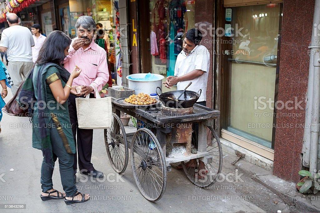 Street food near the New Market, Kolkata, India stock photo