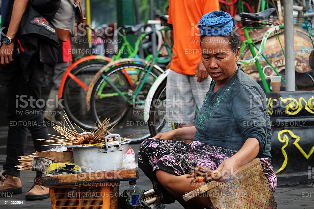 Street food seller stock photo