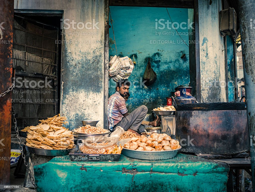 Street food stall in Bikaner Rajasthan India stock photo