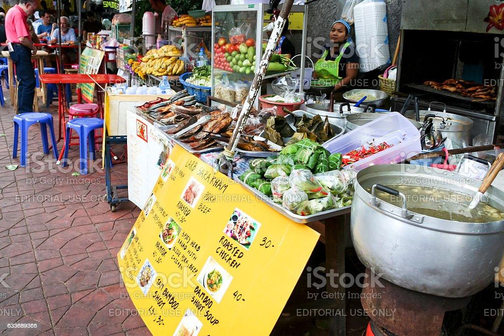 street food stall khao san road bangkok thailand stock photo