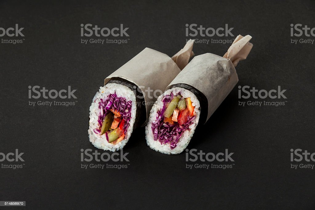 street food sushiritto stock photo