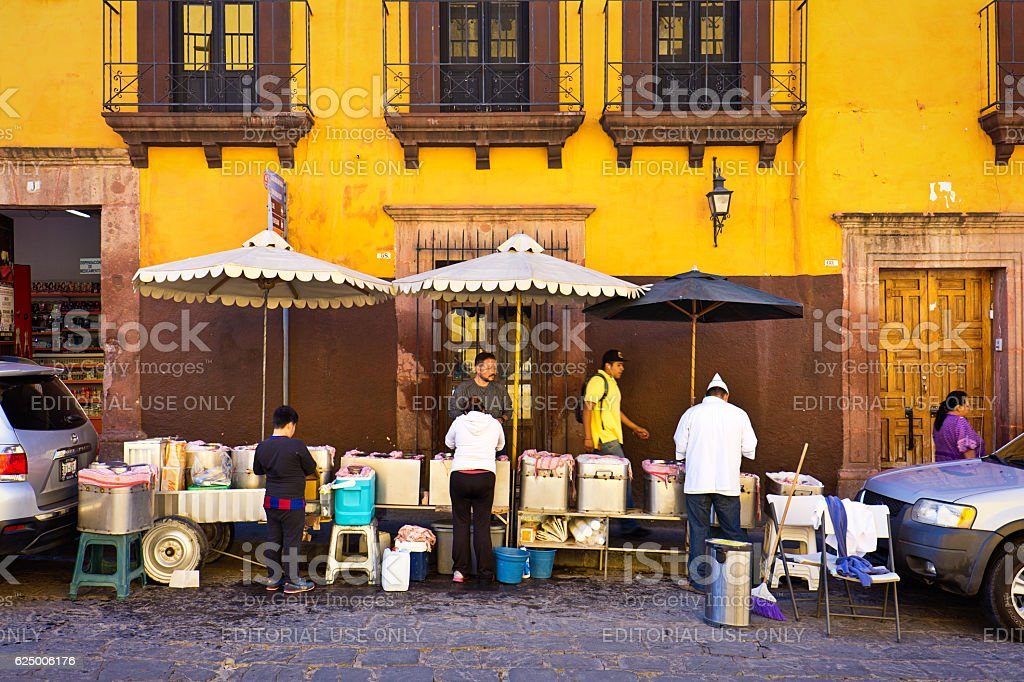 Street Food Venders in San Miguel de Allende, Mexico stock photo