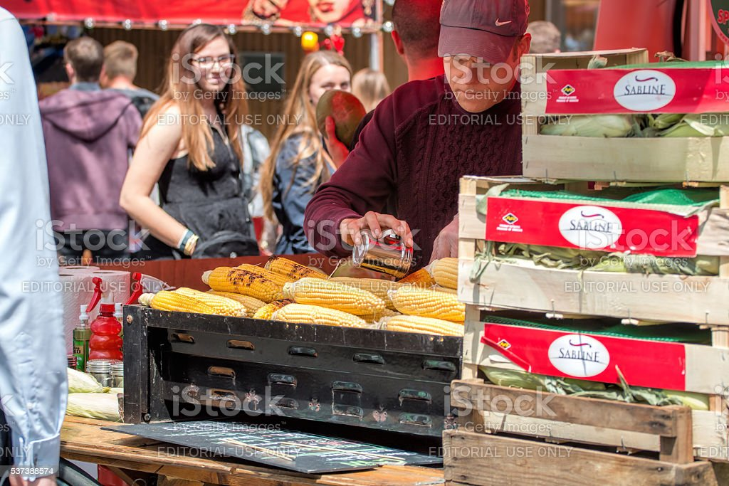 Street Food Vendor Grilled Corn On The Cob, Mexican Elote. stock photo
