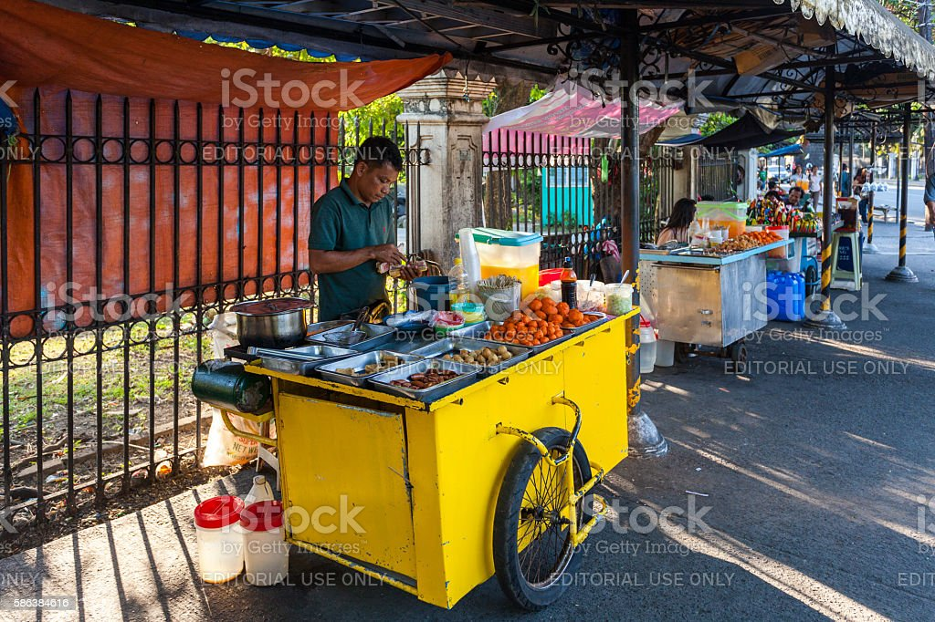 Street food vendor in Manila, Philippines stock photo
