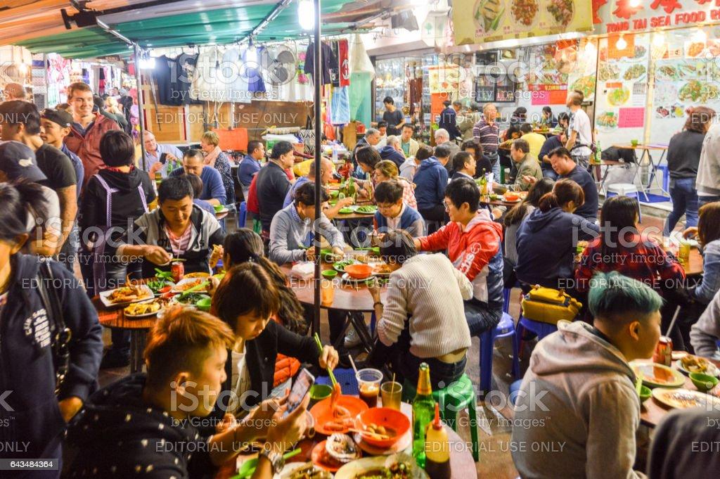 Street food vendors selling food in Hong Kong stock photo