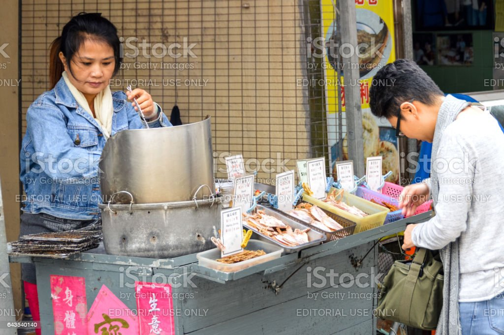 Street food vendors selling food in Hong Kong stock photo