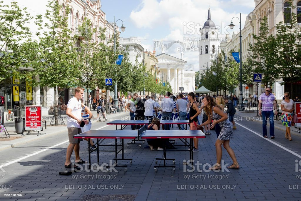 VILNIUS, LITHUANIA - AUGUST 11: Street free sport weekends  in Vilnius on August 11, 2013. Traditional street sports festivals held annually early August. On competition comes a lot of tourists from Europe stock photo