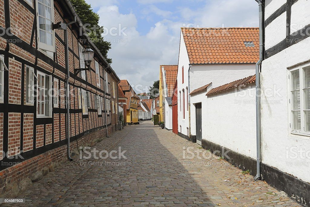 Street from Ribe - oldest town in Denmark stock photo